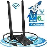 Tokenhigh Adaptateur USB WiFi, Clé WiFi Dongle 1200Mpbs USB Adaptateur WiFi 802.11ac Ultra Speed, Double Bande(2.4G/300Mbps+5.8G/867Mbps) pour PC de Bureau, Windows XP/Vista/7/8/10 Linux Mac OS