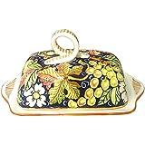 CERAMICHE D'ARTE PARRINI- Italienische Kunstkeramik, Butterdose Dekoration Obst, handgemalt, hergestellt in Italien Toscana