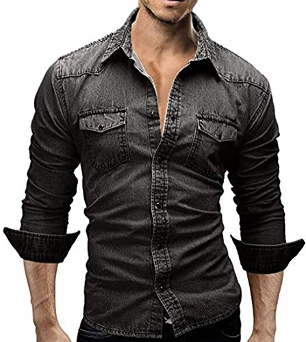 Minetom Custom Denim Fit Hemd Shirt Herrenhemd Jeans Dunkelgrau EU XL (Custom Jacke Jeans)