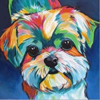 TianMai Hot New DIY 5D Diamond Painting Kit Crystals Diamond Embroidery Rhinestone Painting Pasted Paint by Number Kits Stitch Craft Kit Home Decor Wall Sticker - Colorful Dog, 30x30cm
