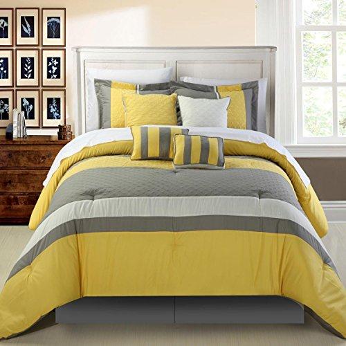 mit Gelb 8Stück Tröster Bed in a Bag Set, Polyurethan, gelb, King Size