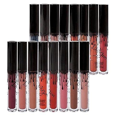 Richoose 16 couleurs Set imperméable à lèvres maquillage crayon à lèvres mat gloss à lèvres à lèvres super longue durée (16 pcs)