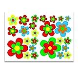 easydruck24de Aufkleber-Set Retro Blumen I kfz_209 I Blümchen Bunt I Flower-Power Sticker für Küche Bad Kinder-Zimmer Wohnmobil Bulli Roller PKW I Wetterfest