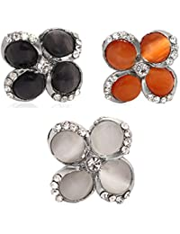 Aventus Silver Plated Flower Crystal Design Ring For Women, Free Size |Set Of 3|