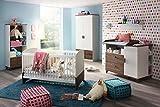 3-tlg. Babyzimmer in alpinweiß mit Abs. im Eiche Stirling Dekor-Druck, Schrank B:91 cm, Wickelkommode B: 120 cm, Sprossenbett Liegefläche 70x140 cm