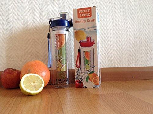 Trinkflasche mit Teesieb, 25 Oz, bruchfester Tritan-Hinzufügung von Obst auf dem Aufgusswasser zumischen Flasche Limonade oder um Gesunde Früchte Wasser, Boden, Wasser, mit integriertem Teesieb als für absolut wasserabweisend Wasserflasche oder infundiert Fruit Tee-Ei (blau)! blau Gesund Becher