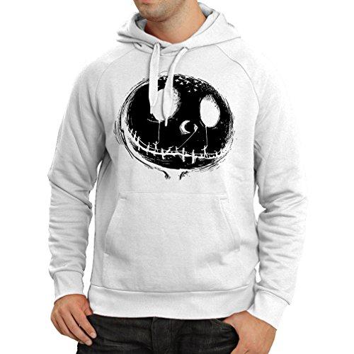 lepni.me Kapuzenpullover beängstigend Schädel Gesicht - Alptraum - Halloween-Party-Kleidung (XX-Large Weiß Mehrfarben)
