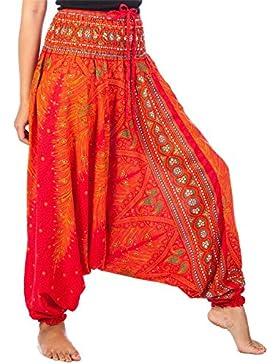 Lofbaz Jumpsuit Pantalones Harem de cintura Smocked del pavo real para Mujeres Una Talla