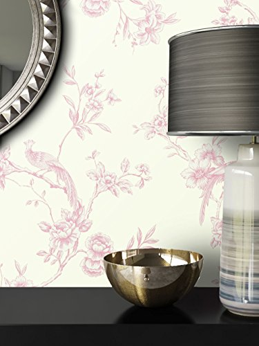 *NEWROOM Tapete Beige Blumen Vögel Floral Papiertapete Rosa Papier moderne Design Optik Tapete Natur inkl. Tapezier Ratgeber*