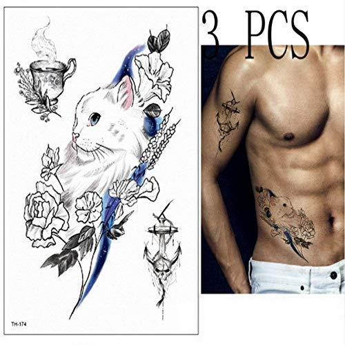 3 pz dio maschile con grandi ali diavolo tatuaggio temporaneo adesivi body painting trucco cicatrice concealer masquerade ragazza 3 pz-