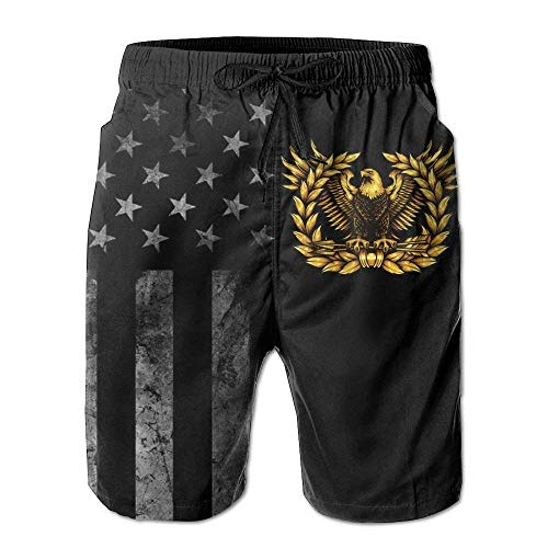 Paint0 Warrant Officer Rising Eagle with American Flag Men's Beach Shorts Swim Trunks - Swimsuit Athletic Shorts X-Large (Eagle Rising)