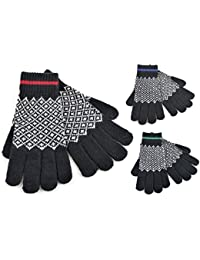 Herren Thermo-Handschuhe, 3Paar, Strick, Norwegermuster, Touchscreen-kompatibel, warm, Schwarz, 3 Paar