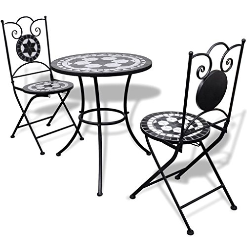 Eisen-bistro-stuhl (lingjiushopping Bistro Tisch 60cm mit 2Stühlen Mosaik Schwarz/Weiß Farbe: Schwarz/Weiß Material: Gestell Eisen pulverbeschichtet + Keramik Fliesen Sitze und Tisch Top)