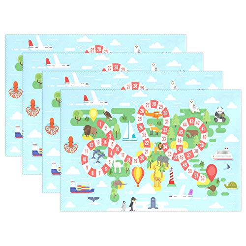 on World Tour Board Game Platzset Tellerhalter, 1 Stück, Polyester Tischunterlage Schutz für Küche Esszimmer 30,5 x 45,7 cm, Polyester, Mehrfarbig, 12x18x4 in ()