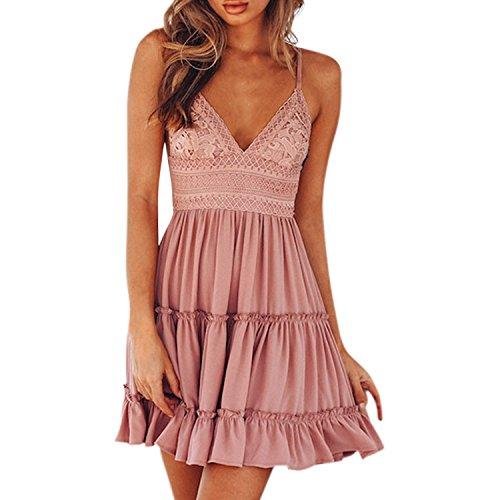 Petalum Damen Kleid Sommerkleid Ärmellos V Ausschnitt A Linie Partykleid Rückenfrei Spaghettiträger Strandkleid mit Schleifen in 4 Farben