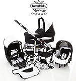 Chilly Kids Matrix 2 poussette combinée Set – été (parasol, siège auto & adaptateurs, habillage pluie, moustiquaire, roues pivotantes) 56 noir & blanc