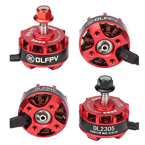 DLFPV 4pcs Brushless Motor DL2305 2600KV 2-4S for X210 X220 250 300 FPV Racing Drone Quadcopter 2CW 2CCW Red