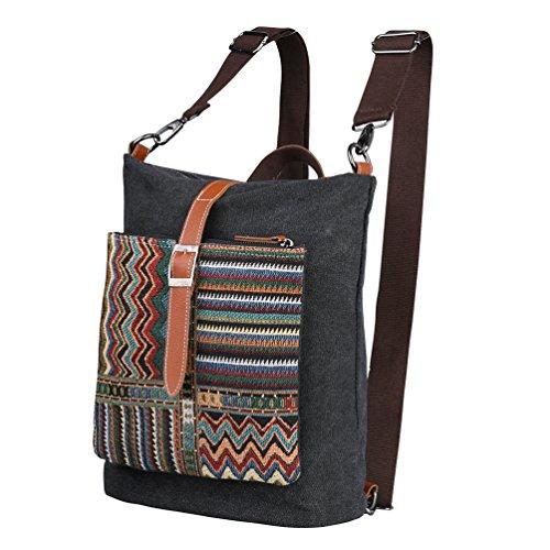 Vbiger Borsa a tracolla in tela Borsa Messenger alla moda Casual Daypack(Grigio) Nero