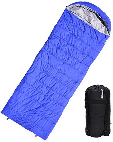 Nom du produit : Animato Sac de couchage enveloppe léger et imperméable pour camping, randonnée, bivouac, avec sac de rangement Sac de couchage 3 saisons ultra léger pour homme ou femme, adulte ou enfant Bleu et gris, avec zip de jumelage