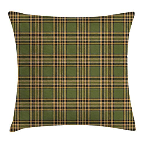 Plaid Throw Pillow Cushion Cover, Tartan Pattern in Autumn Tones Old Fashioned Design Country Illustration, Decorative Square Accent Pillow Case, 18 X 18 inches, Olive Green Mustard Square Double Old Fashioned
