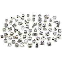 Nambeads © - 10 x Charm tibetani misti in argento, adatti per braccialetti Pandora Dai un'occhiata ai sacchetti contenenti perline in vetro, smaltate, charm, chiusure, diamanti sintetici, ecc.