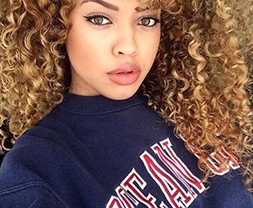 Esee Wigs - Perruque en fibres synthétiques pour femme - Style afro - Marron - Racines foncées - Résistante à la chaleur - Boucles naturelles