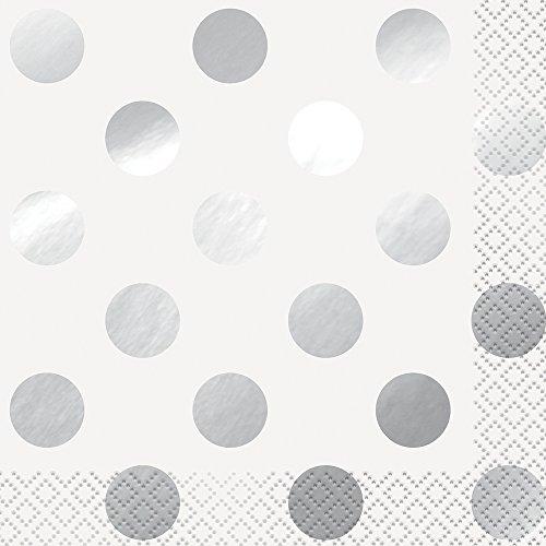 Servilletas de cóctel de lunares, de plata, pack de 16