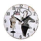 Uhr Wanduhr Küchenuhr weiß schwarz Wandbild Paris Nostalgie antik Shabby Deko