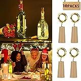 10 Stück Led Flaschenlicht Korken, MMTX 2M mit 20 LED Kupferdraht Lichterketten für Flasche DIY Dekor, Weinflasche Lichter Party, Deko Hochzeit, Urlaub (Warmes Weiß LED Flaschen-Licht Flaschenlichter)