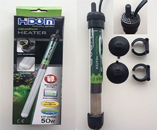 Hidom HT-2050 Submersible Blastproof Aquarium Heater 50w with FREE THERMOMETER - Max Tank Size 50 Litres Test