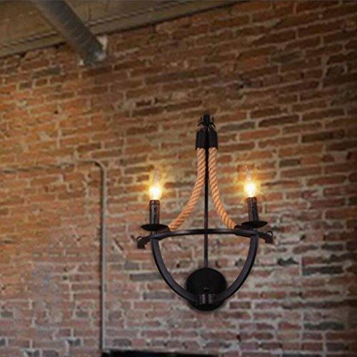 Wddwarmhome Wand-Montagehalterung Licht Wandleuchte Eisen Wand Lampe Restaurant Bar Cafe verziert Wandleuchte Hanf Seil Wand Lampe klassische dekorative Wandleuchte, E14 -