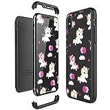CE-LINK Coque iPhone X, Housse Etui en PC Matière 3 en 1 360 Degrés Protecteur Solide Licorne Cover - Noir