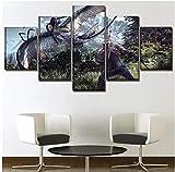 LJLSLH Leinwanddrucke 5 Stücke The Witcher 3 Spiele Hd Moderne Leinwand Malerei Dekoration Bild Druckt Poster Größe A (Kein Rahmen)