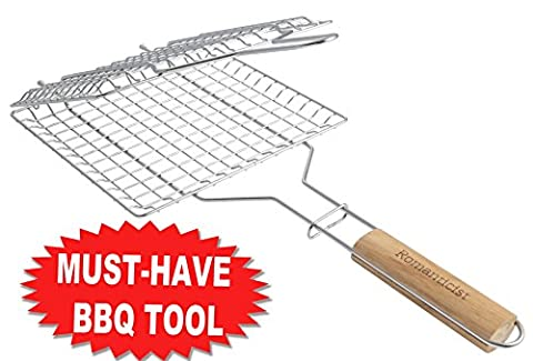 Large Grilling Surface - Heat-Resistant Wood Handle - Stainless Steel BBQ Grilling Basket for Roast fish Vegetable Shrimp Fruit Meat Seafood - Best Barbecue Wok Topper Accessories Gift for Men Dad