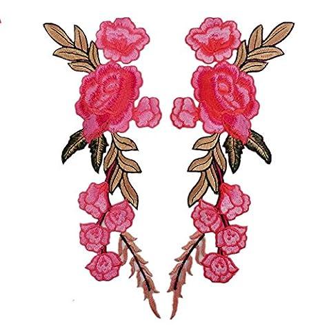 (Packung mit 2) 7 Pfingstrose Blumen auf Rebe gestickte Applikationen