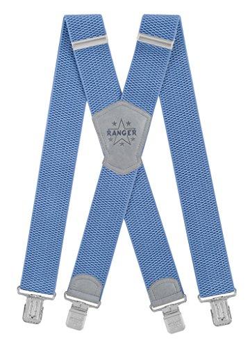 Ranger Hosenträger für Männer X Form, 5 cm breit, 130 lang, regulierbare und elastische Hosenträger mit sehr starken Klipps - robust Dx50 (blau 3)