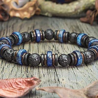 Taille 21-22cm Bracelet Homme/Femme perles pierres naturelles Lapis Lazuli Ø10mm, Lave Volcanique Bois Cocotier/Coco Ø8mm Création 1000ola Fait main Made in France BRALAPTUS-18