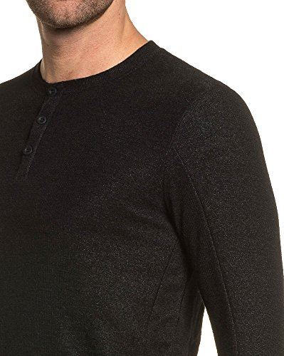 Project X - Pull homme noir fin col rond 3 boutons Noir