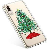 Uposao Handyhülle Huawei P20 Hülle Transparent Silikon Ultra Dünn Schutzhülle Durchsichtig Handyhülle Kristall Weiche Silikon TPU Handytasche Rückschale,Grün Weihnachtsbaum