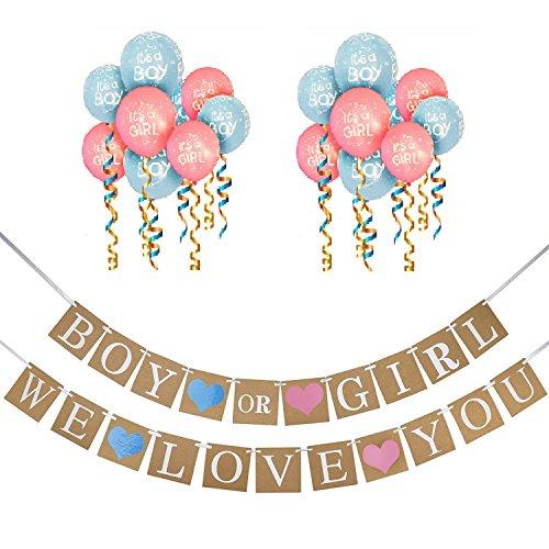 Boy oder Girl Banner und Geschlecht zeigen Ballons Set, Baby-Dusche und Schwangerschaft Ankündigung - 10 Luftballons und Doppel Banner Set (Farbe Geschlecht Offenbaren)