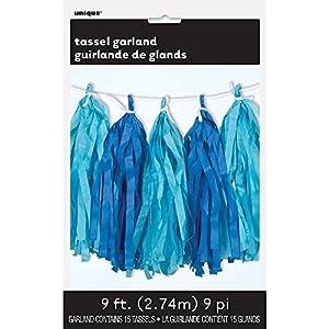 Unique Party Guirnalda con borlas de papel de seda Color Rey y Azul Claro, 274 cm 62961