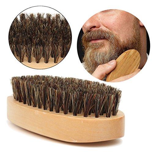 Bluelover Manche en Bois Sanglier Soies Barbe Apprivoiser Moustache Brosse Style Lisse Peigne Cheveux