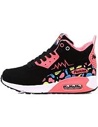 Mantenga caliente mujer Zapatillas de encaje hasta la altura exterior creciente Sneakers cómodas trotar para mujeres...