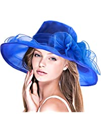 Dafunna Pamela ala ancha y flores Organza Seda Sombrero de Sol para Mujer Boda Derby Church Kentucky Tea Party