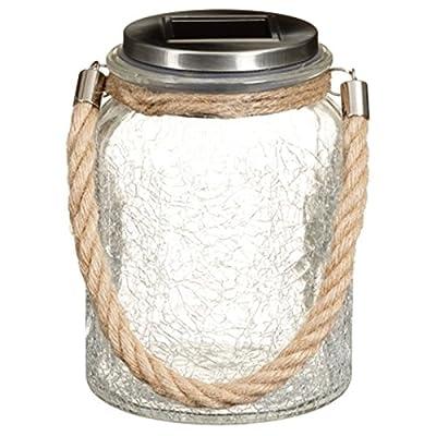 Elegent Garden Solar Powered LED Hanging Glass Jar Rope Light Lantern Table Lamp - Crackle Glass (White) from Scotrade