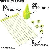 Quickplay PRO Set velocità + Agilità: Paletti per l'allenamento dell'agilità Multi-Sport | Coni | Ostacoli per la velocità | Calcio Tennis | Barriere di sbarramento