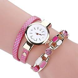 Relojes Pulsera Mujer ❤️ Amlaiworld Reloj niña Reloj de brazalete de diamantes de señoras Mesa de moda para estudiantes reloj mujer deportivo (rosa fuerte)