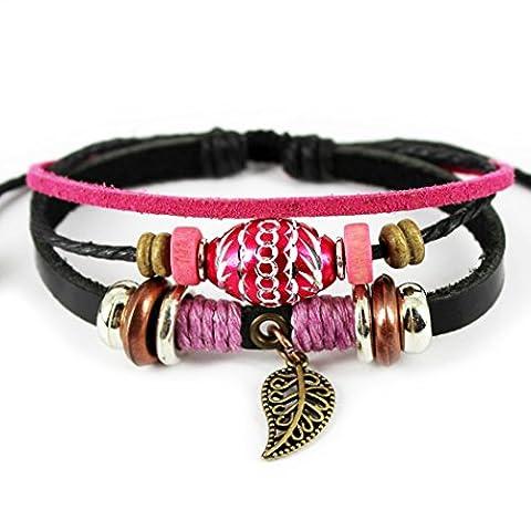 Plus de Fun Charm Couleur Rose Perle Ovale Noir Bracelet cuir bracelet réglable avec pendentif feuille