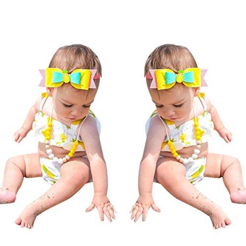 Mädchen Bikini Yesmile Kinder Mädchen Niedlich Bandage 2 Stück Sommer Bikini Set Strap Kleinkind Baby Badebekleidung Träger Ärmellos Tankini Monokini Drucken Outfits Beachwear (100, Weiß) (Kleinkind-string-licht)