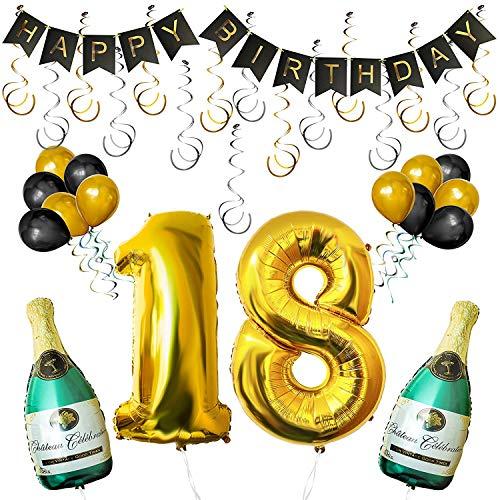 """day Luftballons Banner Dekoration Set zum 18. Geburtstag Umfasst Aufblasbare Champagnerflaschen, 101,6cm Gold Nummer """"18"""" u. Ballons - Dekoratives Party Zubehör Deko Set ()"""